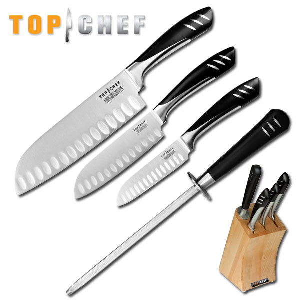 Top Kitchen Knives: Wholesale Lot 3 Top Chef Professional Santoku Knives